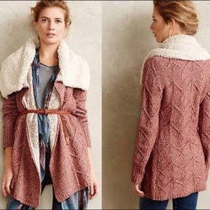 Anthropologie Red Sherpa Collar Sweater Cardigan
